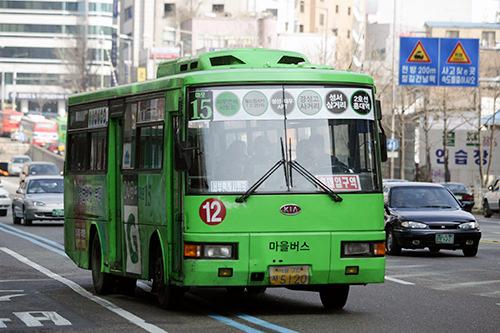 村バス(緑)支線バスの中でも走行距離が短く、低料金制の村バス。