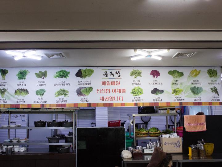 店内には葉野菜を説明した横断幕が