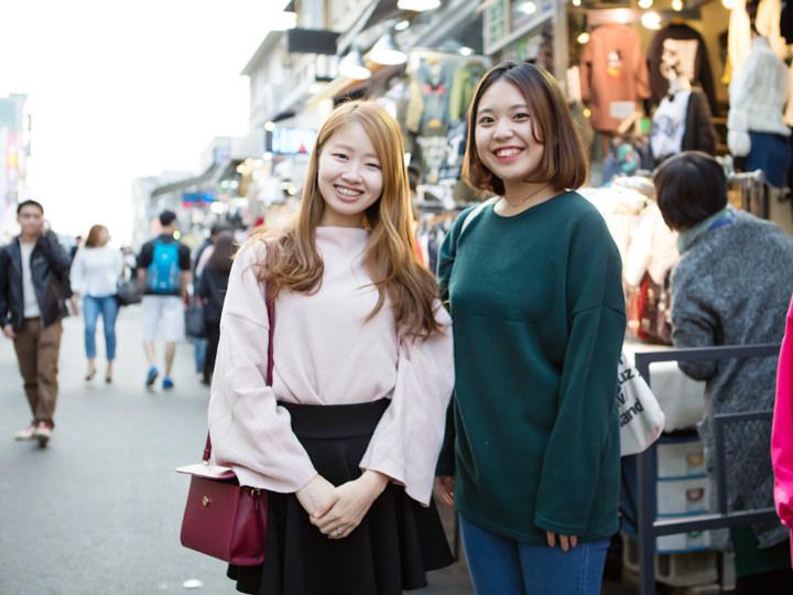 (左から)しおり 延世(ヨンセ)大学・大学院、さき 東国(トングク)大学・交換留学