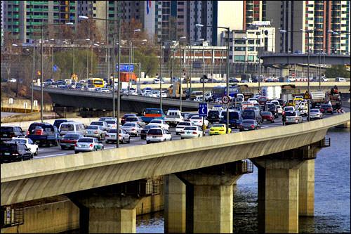 渋滞の多いソウル市内