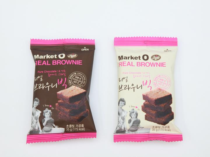ばら売りのお菓子もあり(「マーケットO リアルブラウニー」1個1,000ウォン)
