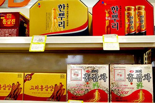(上) 滋養ドリンク「ハンプリ」 29,000ウォン(下) 紅参茶 18,000ウォン