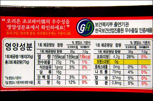 栄養成分表示。カロリーやパーセントがあるので見た目の雰囲気は日本と同じ。黄色で示されている部分はトランス脂肪0グラムを強調。
