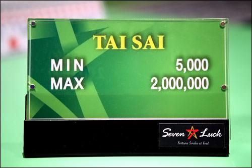 例えばタイサイのミニマムベットは5,000ウォンマキシマムベットは2,000,000ウォン
