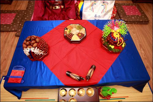幣帛膳には夫婦円満の象徴、雁の置物も(手前)