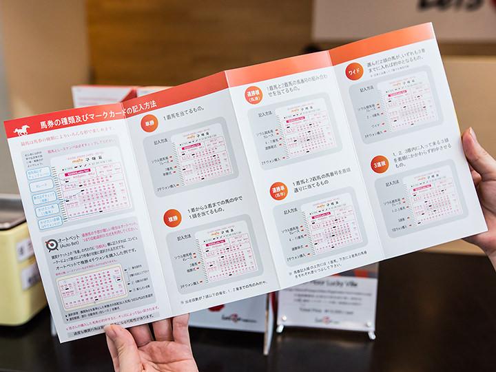 日本語パンフレットには、馬券の種類とマークカードの記入方法が記載