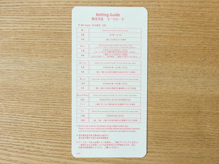 日本語マークカード(裏面)