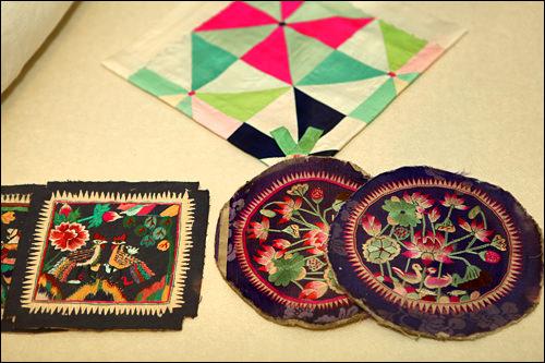 花のグラデーション刺繍が見事