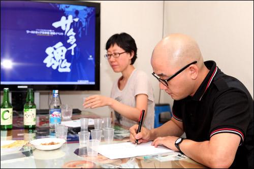 コネストきっての酒豪(?)、韓国スタッフのMs(左)とHj
