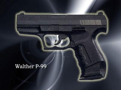 WALTHER P99口径:9mm製造国:ドイツWALTHERシリーズの最新版。「007」でジェームス・ボンドが使用。