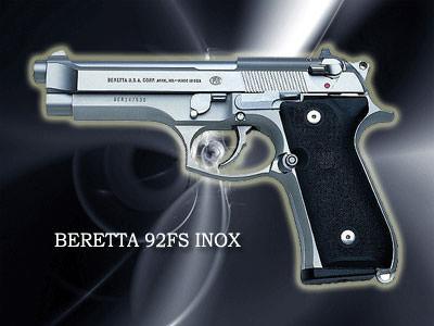 BERETTA 92FS INOX口径:9mm製造国:イタリア世界一有名な銃。「マトリックス」「M:I:2」「シュリ」でも使用。「踊る大捜査線」の青島刑事も。