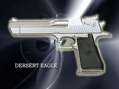 DERSERT EAGLE口径:357マグナム製造国:イスラエルイスラエルの軍人が使用。取扱っている銃の中で一番重い。