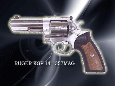 RUGER KGP 141口径:357マグナム製造国:アメリカアメリカ・ルガー社のマグナム拳銃。「ルパン三世」の次元大介が使用。