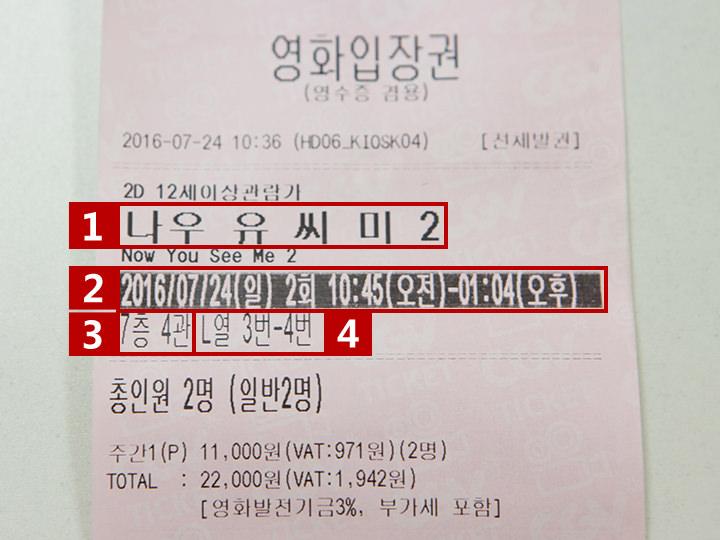 チケット上部に、上映館など確認すべき事項が記載されています