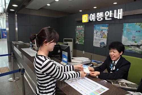 バウチャーとパスポートを提示しコレールパスを受け取り、その場で使用開始日を指定