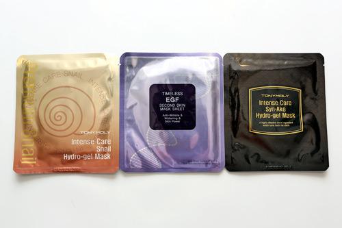 ゲルマスク・シートマスク(左から)インテンスケアスネイルハイドロゲルマスク 25g 5,000ウォンタイムレスEGFセカンドスキンマスクシート 25g 5,000ウォンインテンスケアシンエイクハイドロゲルマスク 25g 5,000ウォン