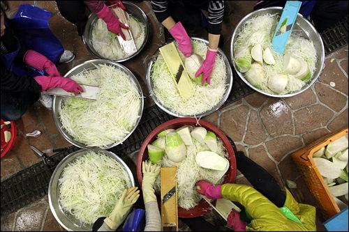 大根パートはスライサーを使ってひたすら千切り。韓国の大根は短く、ずんぐりと丸みのある形。