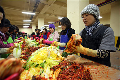 3.「薬味が少ないと美味しくないのよ」と慣れた手つきで次々とキムチが作り出されていく。