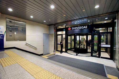 地下鉄駅と地下1階食品館が連結