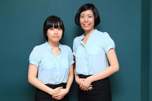 スタッフのソンさん(左)と日本語コーディネーターのファンさん