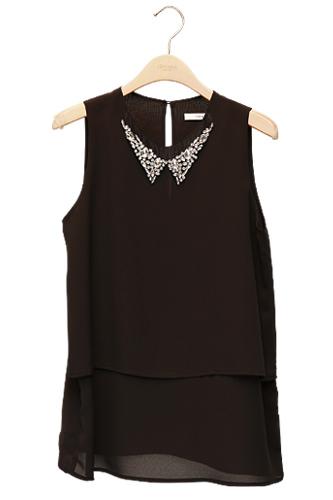 黒×2段裾がきれいめガーリーなロング丈シフォン78,000ウォン