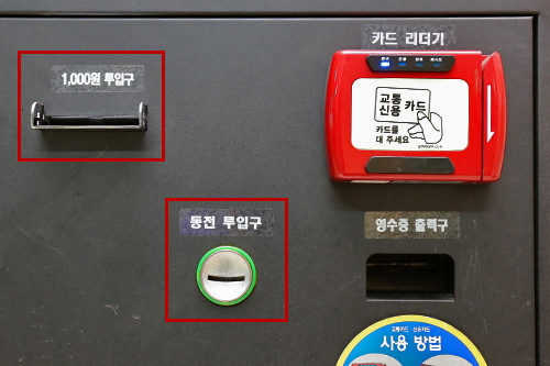 6-1.現金:硬貨や紙幣を入れる(写真の赤線で囲まれている部分が硬貨・紙幣投入口)。