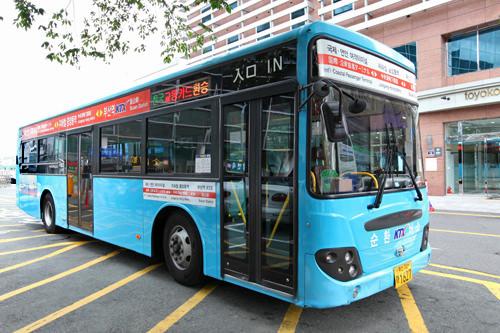 フェリーが発着する釜山港国際旅客ターミナル行きのバスは駅の南側、東横イン釜山駅1前から乗車(地図7)