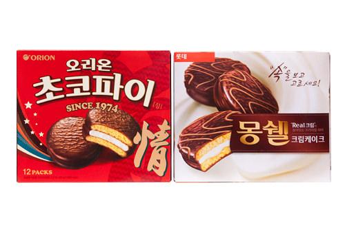 左:オリオン「チョコパイ情」右:ロッテ「モンシェル」