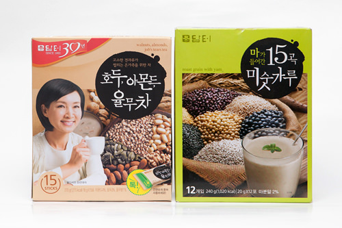 左:「くるみ・アーモンド・はとむぎ(ユルム)茶」右:「山芋が入った15穀ミスカル」