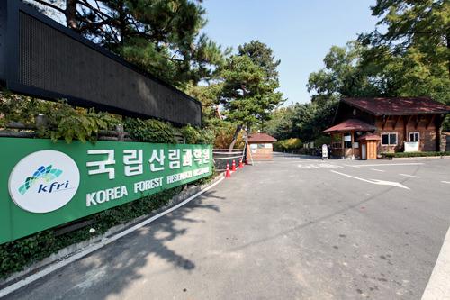 洪陵樹木園の入口は緑色の看板が目印