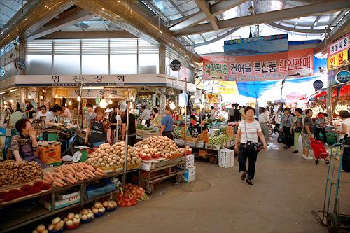 ソウル市内最大の在来市場、京東市場を見学しても