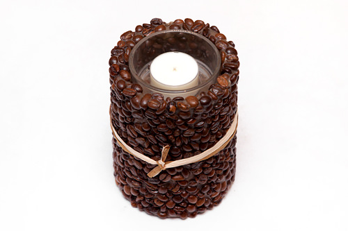 本物のコーヒー豆を使用したキャンドルホルダー 小 50,000ウォン ※大 70,000ウォンもあり