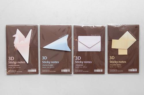 折り紙付箋(20枚) 各3,700ウォン遊び心満載の斬新なデザインと立体感が面白い、折り紙の形をした付箋。