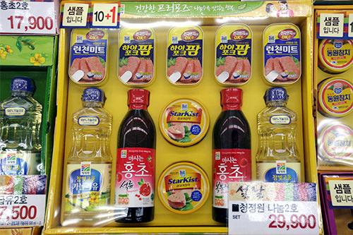 食用油・調味料10,000~70,000ウォン 主婦にはうれしい食用油や調味料なども贈られます。