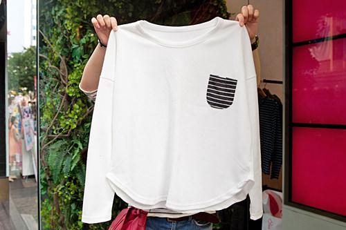胸ポケットがポイントのトレーナーは激安の9,900ウォン