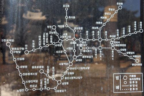 かつて走っていた路面電車の路線図