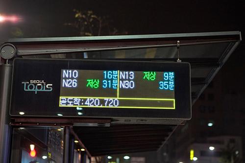 到着までの時間を示す電光掲示板