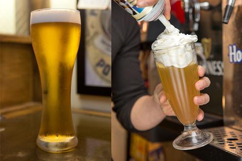 クリーム生ビール(左)生クリームビール(右)