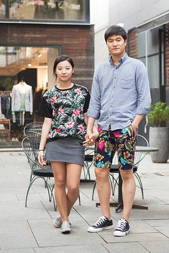 サマーショッピングアロハ~なTシャツとハーフパンツで大胆ペアルック ジョンミンさんカップル4/24 カロスキル