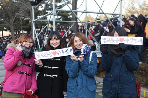日本人 4人組このために日本から来ました。SUPER JUNIORと結婚したい!