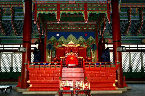景福宮、勤政殿(クンジョンジョン)の日月五峰図
