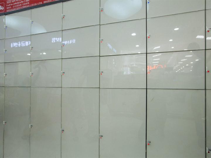 3時間まで無料のロッカー※超過時は有料にて9時間まで保管小型 1,000ウォン大型 2,000ウォン