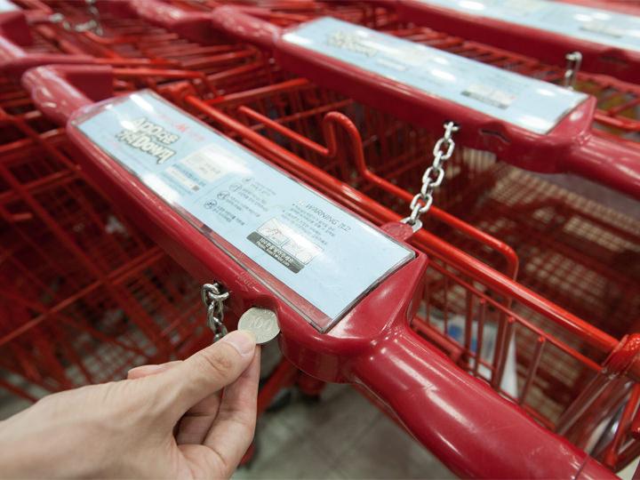 ショッピングカート(コインリターン式、100ウォン)