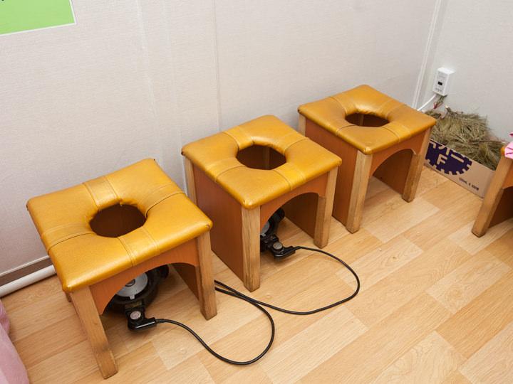 よもぎ蒸しルーム(女湯に5台、カップルで利用時は共有スペースの汗蒸幕横にて)