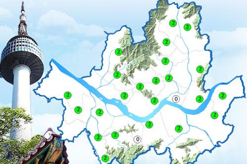 【韓国語】ソウル市大気環境情報ソウル市のみ/4段階表示・区別濃度の数値と分布を確認可・時間毎の平均濃度を確認可くわしく見る>>